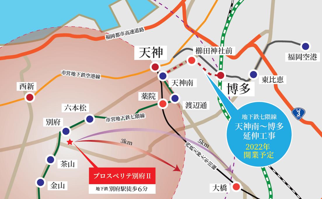 天神南駅〜博多駅延伸マップ
